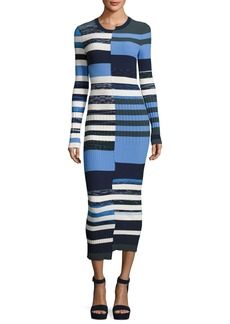 Opening Ceremony Bias-Cut Striped Space-Dye Maxi Sweater Dress