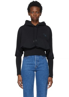 Opening Ceremony Black Rose Crest Cropped Hoodie