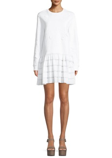 Opening Ceremony Crewneck Long-Sleeve Embroidered Dress with Ruffle Hem