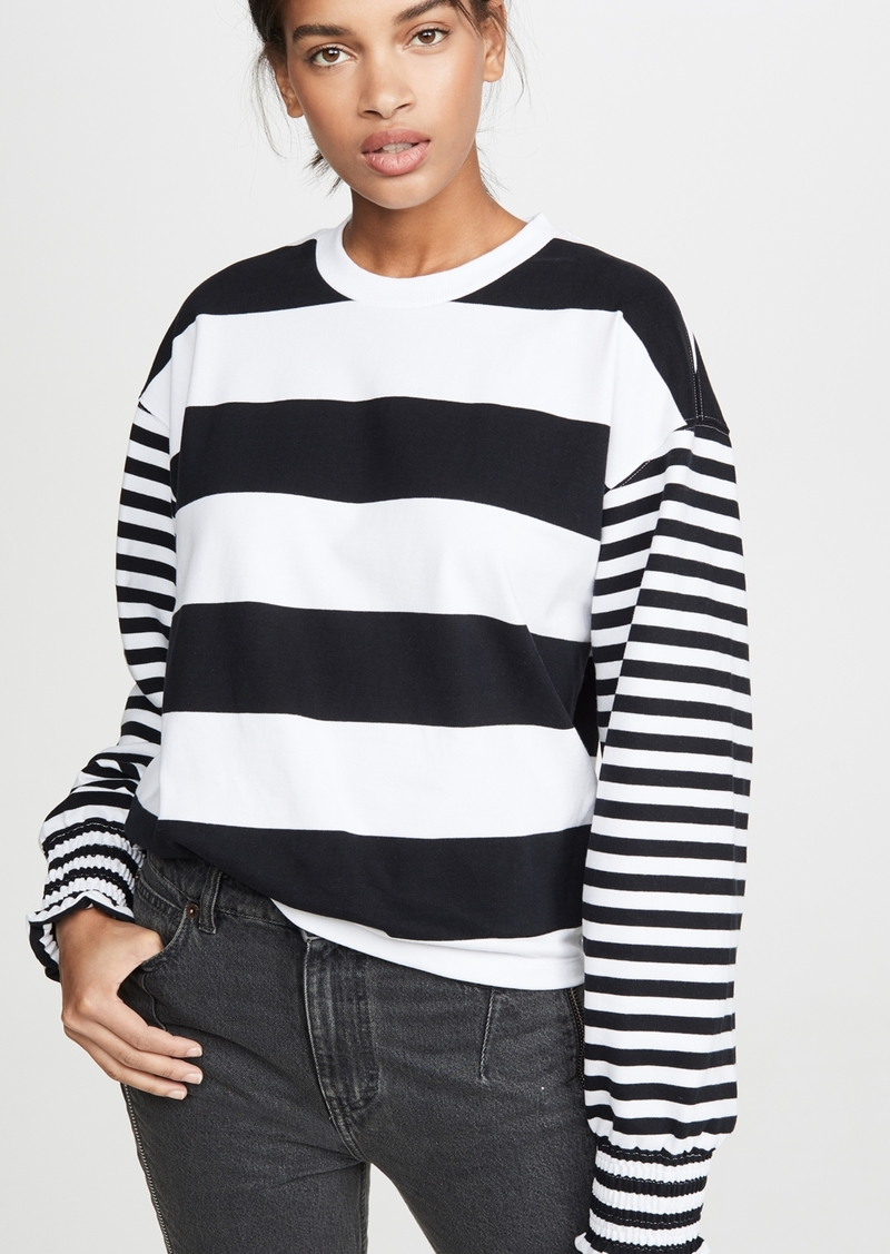 Opening Ceremony Cropped Stripe Sweatshirt