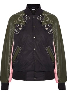 Opening Ceremony Embellished leather-trimmed shell bomber jacket