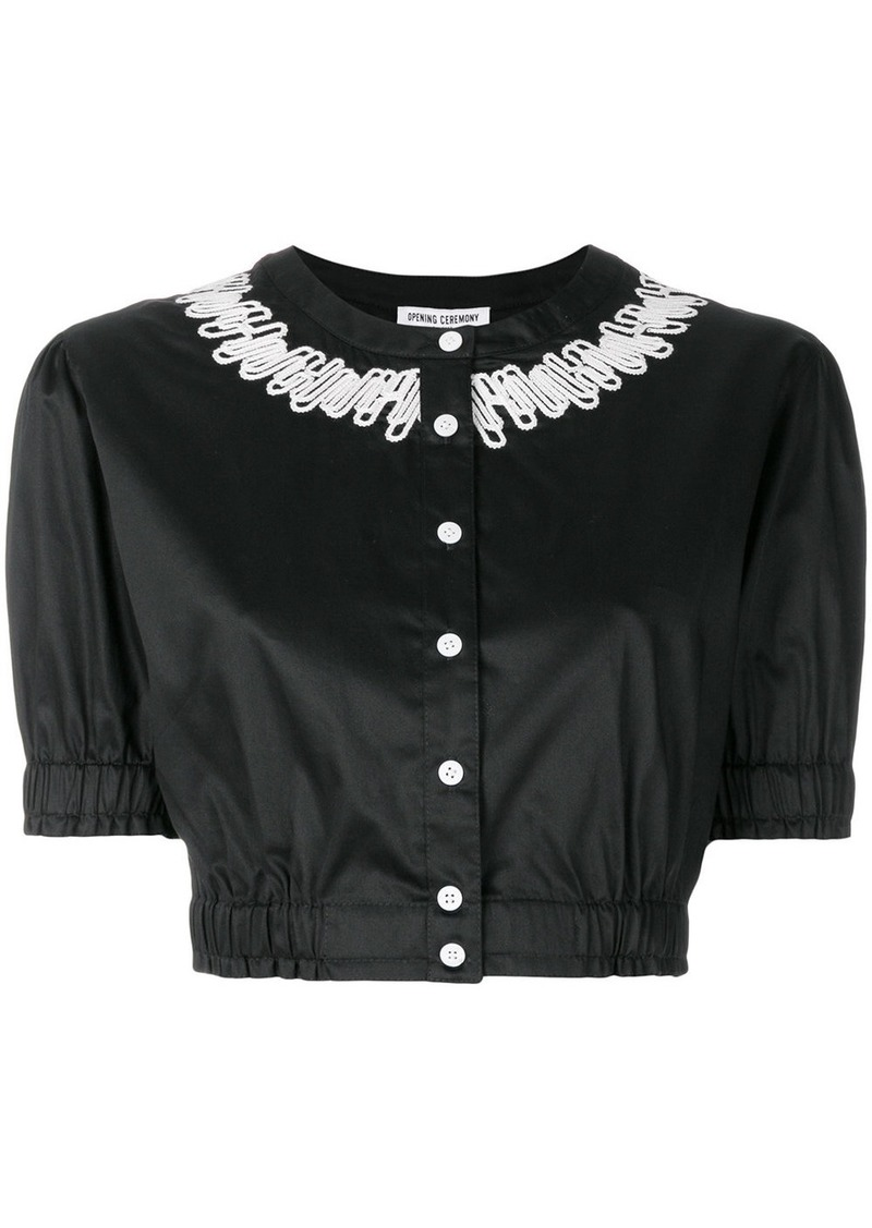 Opening Ceremony embroidered crop top - Black