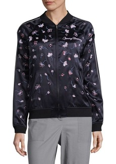 Opening Ceremony Embroidered Floral Silk Bomber Jacket
