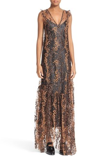Opening Ceremony Enamel Glitter Tulle Midi Dress