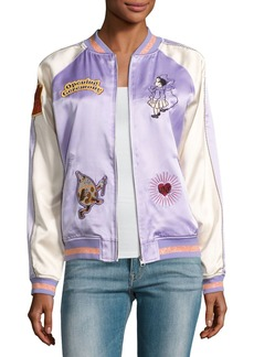 Opening Ceremony Fairytale Embroidered Silk Reversible Bomber Jacket