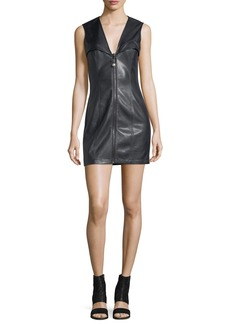 Opening Ceremony Faux-Leather Bustier Sleeveless Zip-Front Mini Dress