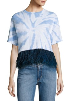 Opening Ceremony Feather-Trim Cropped Tie-Dye Cotton Tee