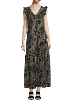 Opening Ceremony Floral Glitter V-Neck A-Line Maxi Dress