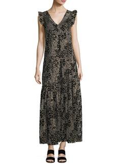 Floral Glitter V-Neck A-Line Maxi Dress