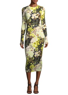 Opening Ceremony Floral-Print Long-Sleeve Rib-Knit Midi Dress