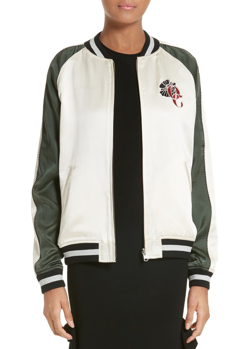 Opening Ceremony Gestures Reversible Silk Bomber Jacket