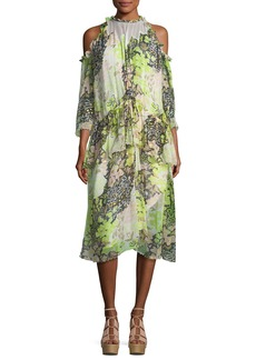 Opening Ceremony High-Neck Floral-Print Midi Dress with Ruffled Frills