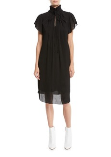 Opening Ceremony High-Neck Plisse Short-Sleeve Shift Dress