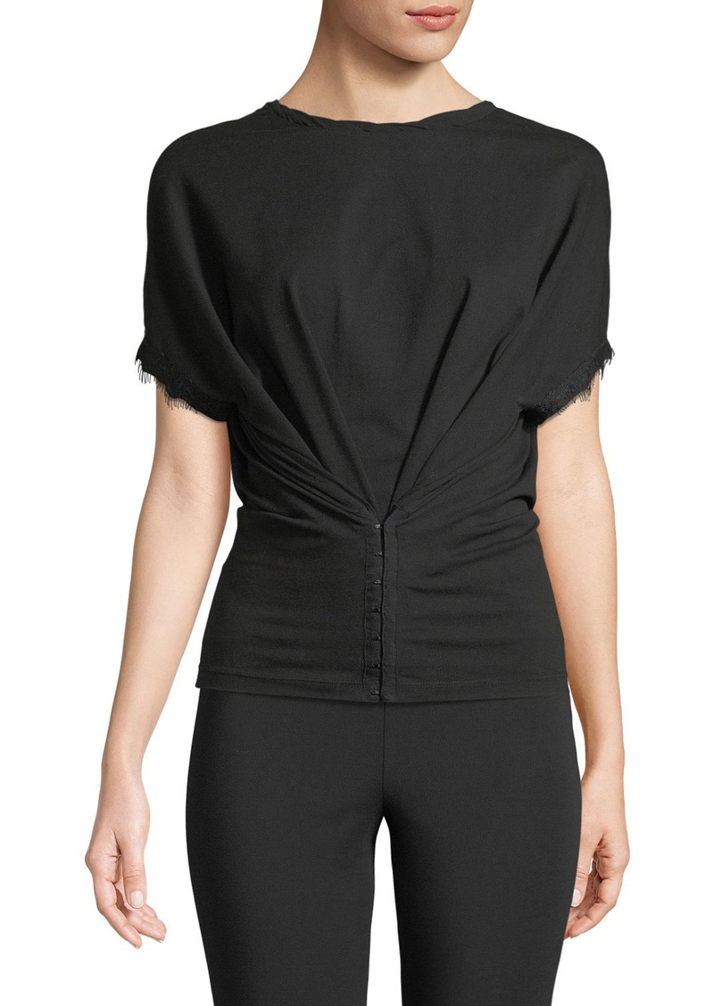 Opening Ceremony Hook-and-Eye Short-Sleeve Crewneck Top