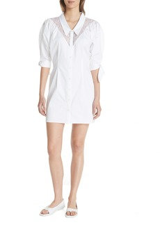 Opening Ceremony Lace Yoke Sateen Shirtdress