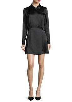 Opening Ceremony Long-Sleeve Crinkle Satin Pleated Kilt Dress