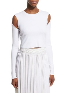 Opening Ceremony Long-Sleeve Jersey Cold-Shoulder Crop Top