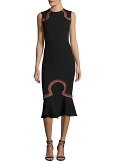 Opening Ceremony Lotus Embroidered Sleeveless Midi Dress