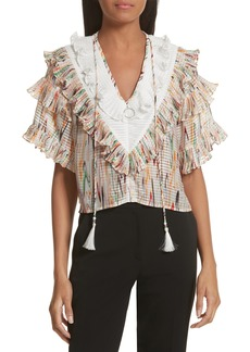Opening Ceremony Marble Print Ruffle Blouse