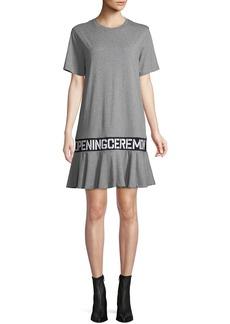 Opening Ceremony OC Elastic Logo Crewneck Short-Sleeve Cotton T-Shirt Dress