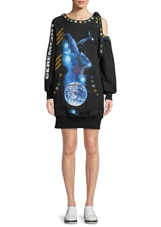 Oceanic-Creatures Rainbow-Grommets Shoulder-Cutout Oversized Sweatshirt Dress