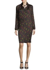 Opening Ceremony Pleated Floral-Print Split-Neck Dress