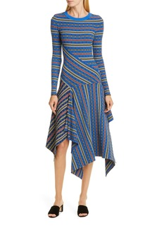 Opening Ceremony Rib Knit Long Sleeve Midi Sweater Dress