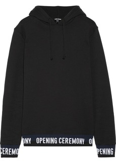 Opening Ceremony Ribbed knit-trimmed cotton-fleece hooded top