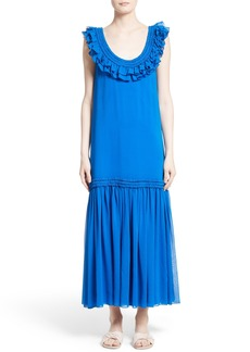Opening Ceremony Silk Chiffon Ruffle Maxi Dress