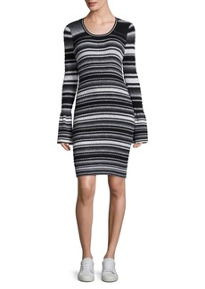 Opening Ceremony Smocked Striped Bell-Sleeve Dress