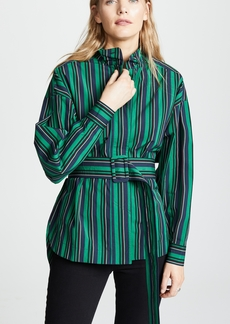 Opening Ceremony Stripe Belted Long Sleeve Top