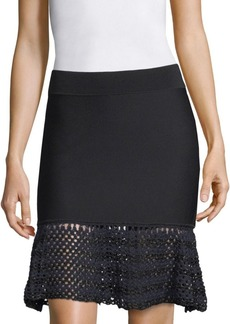 Opening Ceremony Striped Crochet Flounce Skirt