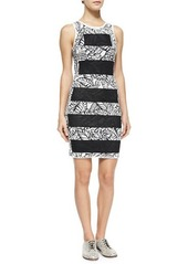 Opening Ceremony Striped/Floral-Print Fitted Dress