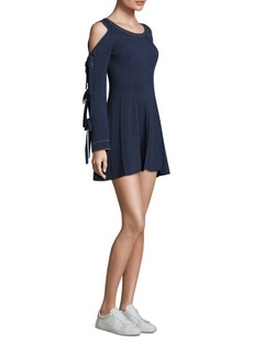 Opening Ceremony Cold-Shoulder Tie Sleeve Flare Dress