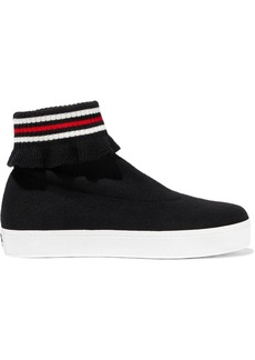 Opening Ceremony Woman Bobby Ruffle-trimmed Stretch-knit High-top Sneakers Black