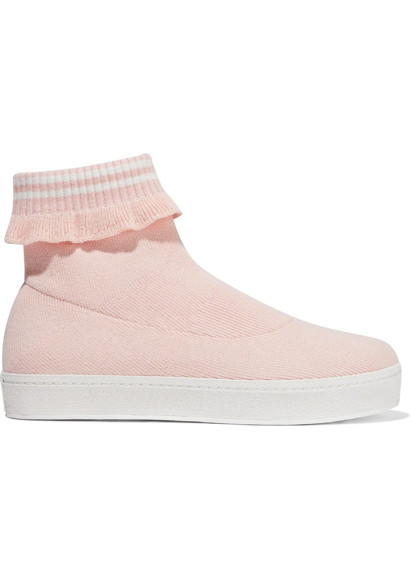 Opening Ceremony Woman Bobby Ruffle-trimmed Stretch-knit High-top Sneakers Pastel Pink