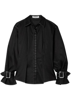 Opening Ceremony Woman Buckle-detailed Cotton-blend Shirt Black