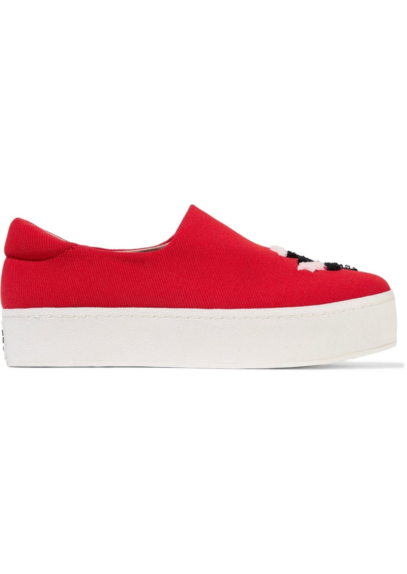 Opening Ceremony Woman Cici Embroidered Twill Platform Slip-on Sneakers Red