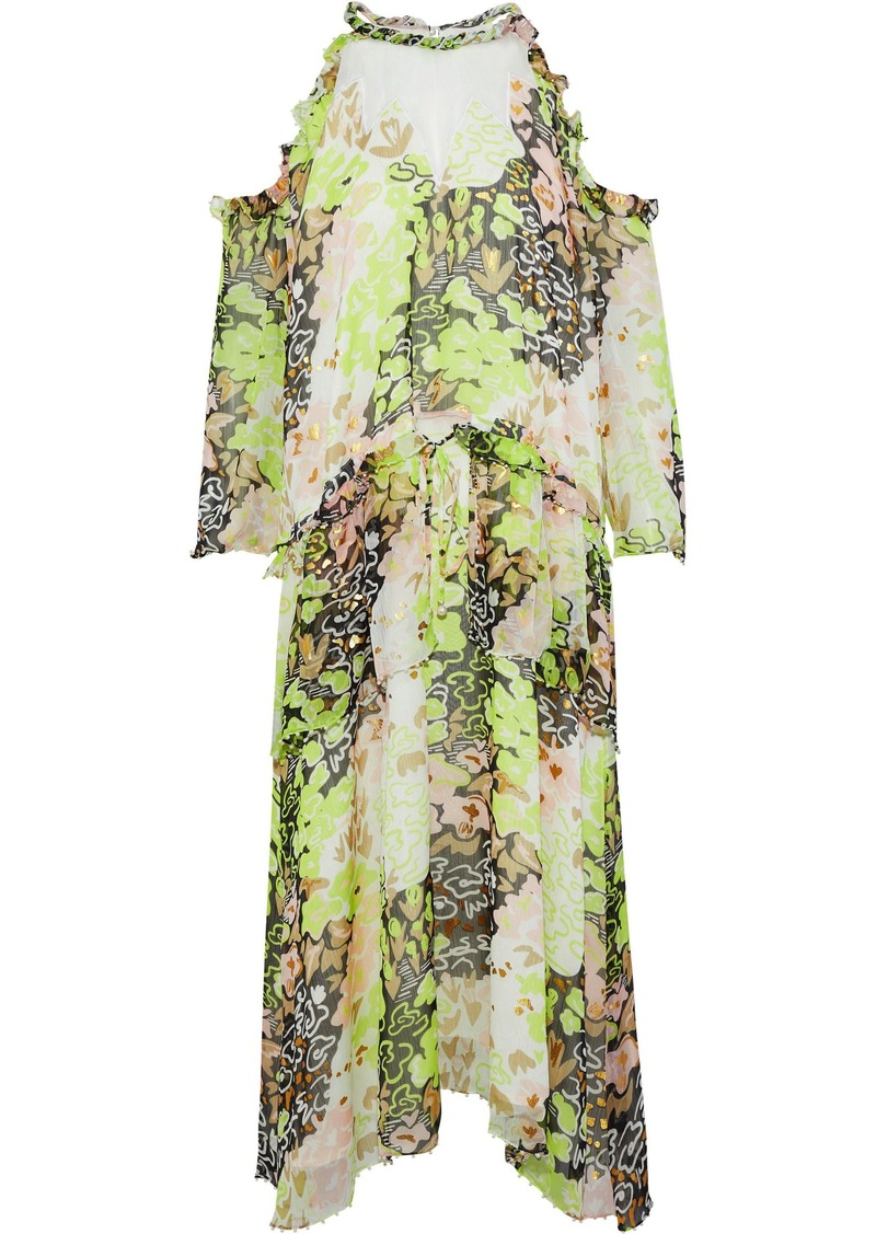 Opening Ceremony Woman Cold-shoulder Embellished Printed Georgette Midi Dress Lime Green