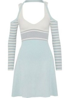 Opening Ceremony Woman Cold-shoulder Striped Ribbed-knit Mini Dress White