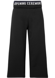 Opening Ceremony Woman Cropped Monogram-trimmed French Cotton-terry Wide-leg Pants Black