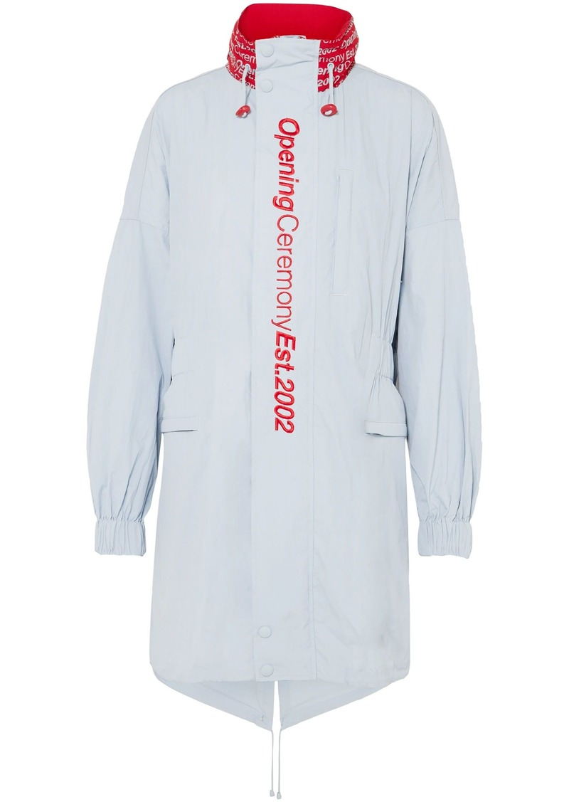 Opening Ceremony Woman Embroidered Printed Shell Hooded Parka Sky Blue