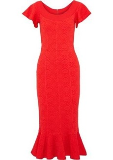 Opening Ceremony Woman Fluted Matelassé Midi Dress Red