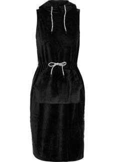 Opening Ceremony Woman Intarsia-trimmed Velvet Hooded Dress Black
