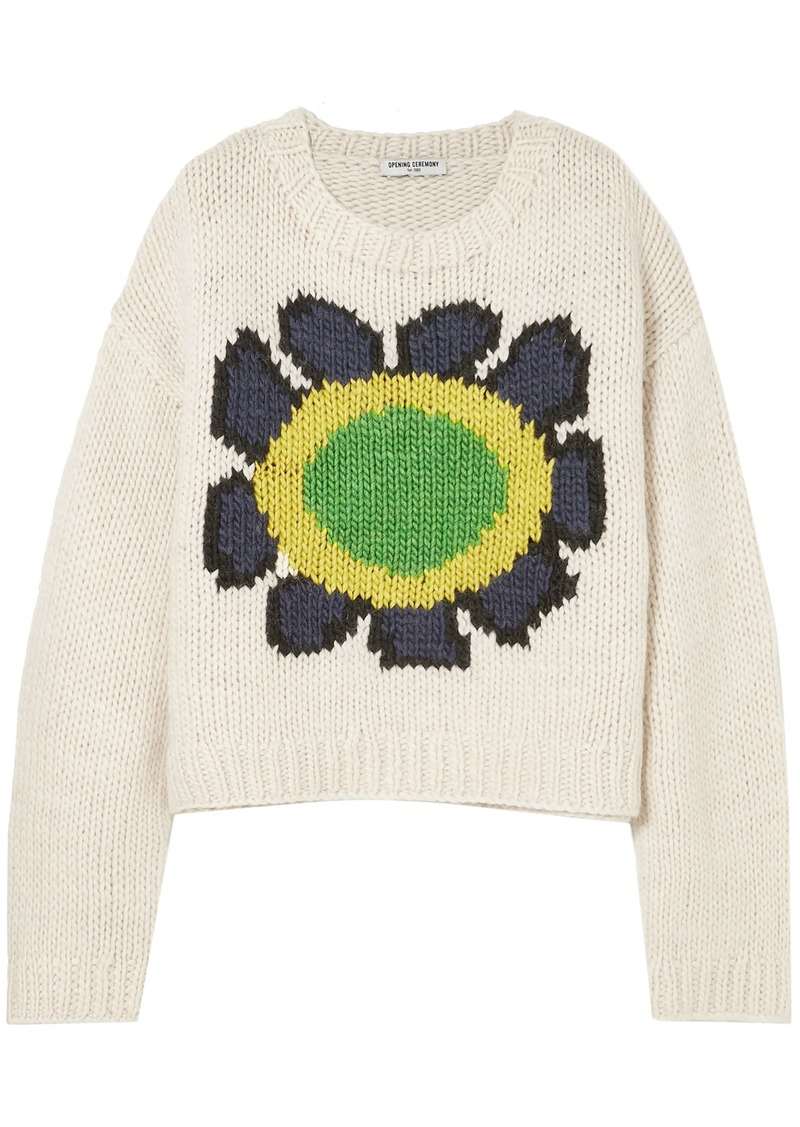 Opening Ceremony Woman Intarsia Wool-blend Sweater Off-white