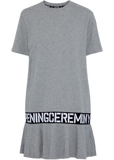 Opening Ceremony Woman Monogram-trimmed Mélange Cotton-jersey Mini Dress Gray