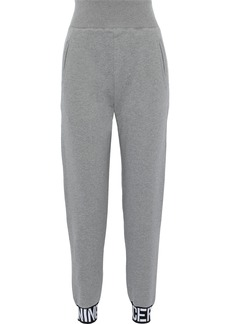Opening Ceremony Woman Jacquard-trimmed French Cotton-terry Track Pants Gray