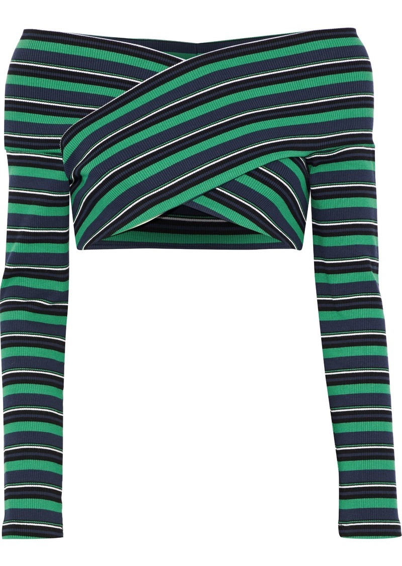 Opening Ceremony Woman Off-the-shoulder Cropped Striped Ribbed Cotton-blend Top Green