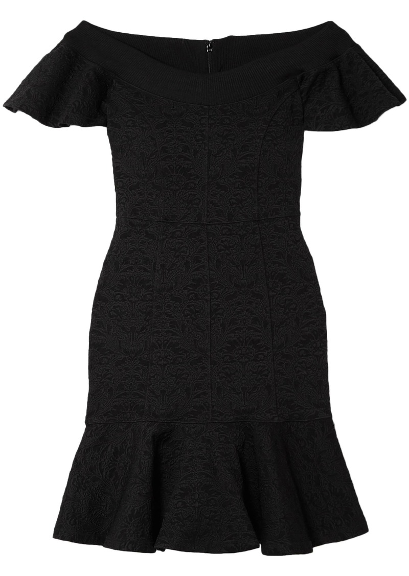 Opening Ceremony Woman Off-the-shoulder Floral-jacquard Mini Dress Black