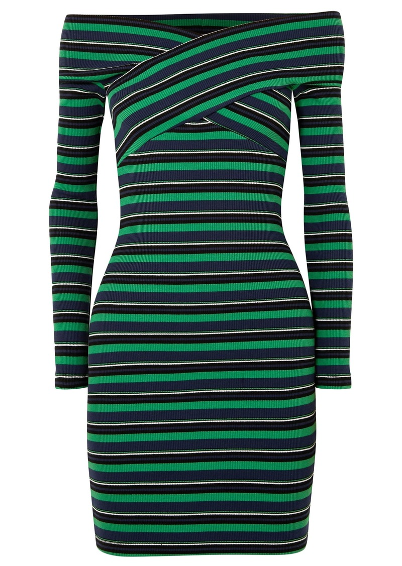Opening Ceremony Woman Off-the-shoulder Striped Ribbed Stretch-cotton Mini Dress Green